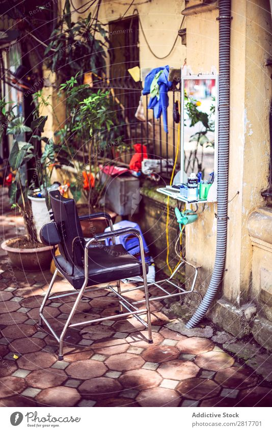 Hanoi - Vietnam, June 15, 2015: An street Hairdressing stall in Asia asian Barber shop Blade Blue Business Chair chi City Culture Customer Cut Haircut