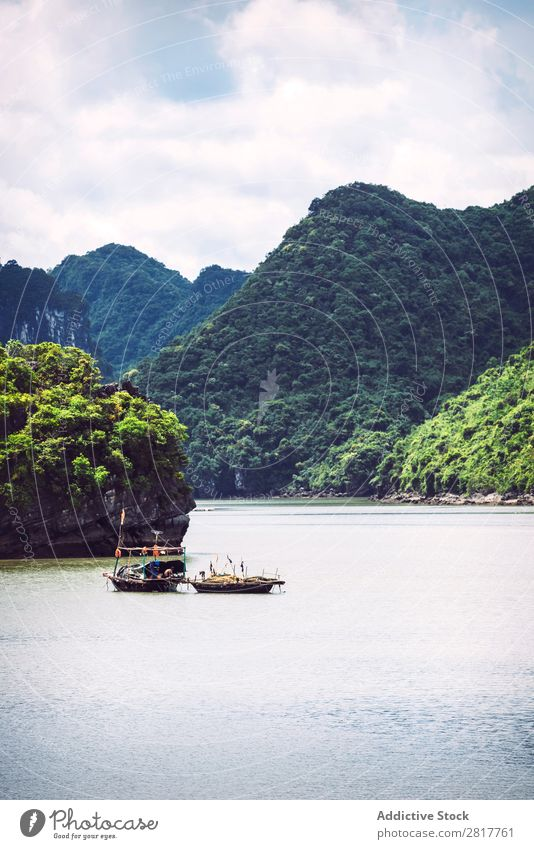 Picturesque sea landscape. Ha Long Bay, Vietnam Halong bay Asia Island Landmark Blue asian Cruise Green Tree South Vietnamese Watercraft Dinghy Wood