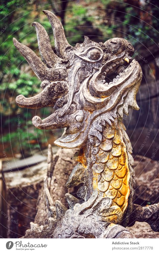Stone dragon in temple Vietnam Adventure Ancient Architecture Art Asia Building Carving Craft (trade)