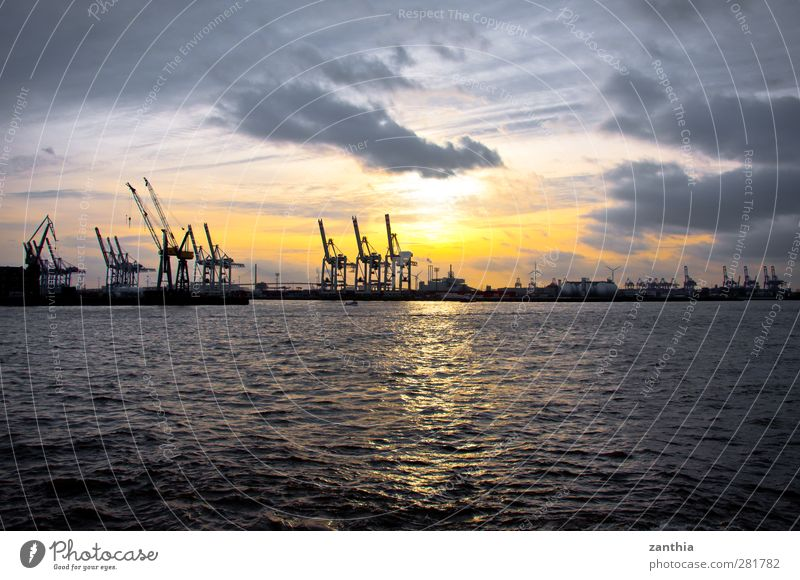 harbor Industry Sky Clouds Sunrise Sunset Port City Deserted Industrial plant Harbour End Apocalyptic sentiment Advancement Horizon Modern Stagnating Moody