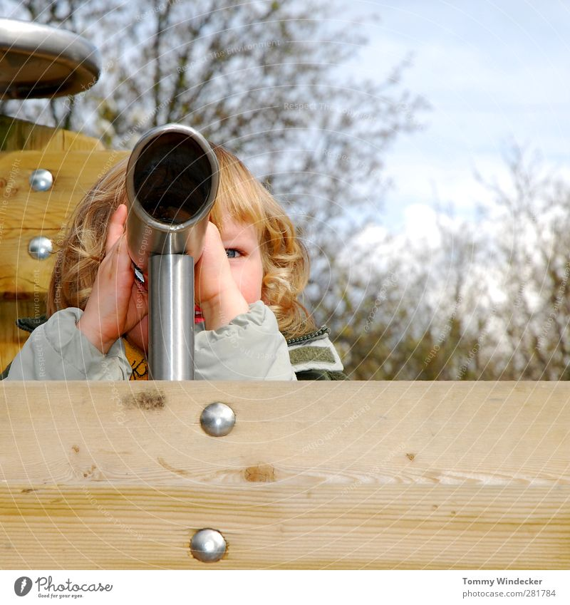 farsightedness Playing Children's game Parenting Kindergarten Boy (child) Infancy Head Binoculars Telescope Wood Observe Discover Looking Far-off places