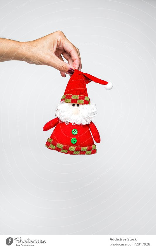 Hand holding Santa Claus toy Toys Christmas & Advent Decoration bauble Human being Feasts & Celebrations Winter Home Gift decor Seasons Bright Craft (trade)