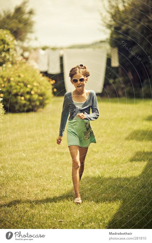 impudently Feminine Child Girl Infancy 1 Human being 8 - 13 years Bushes Garden Meadow Skirt Sunglasses Brunette Braids Going Laughter Brash Free Happiness