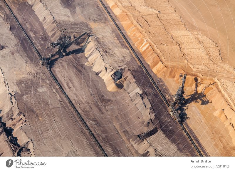 open pit lignite mine Economy Industry Energy industry Environment Destruction Excavator Lignite dig Soft coal mining Pit Coal Hollow open pit mining