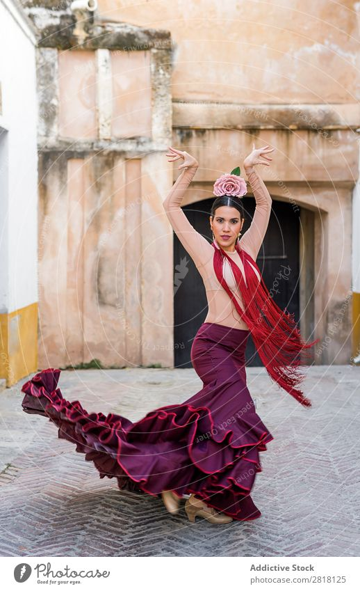 flamenco dancer in the streets of sevilla Flamenco Street Seville Dance Costume Characteristic Spain Spanish Andalusia Woman Youth (Young adults) Brunette