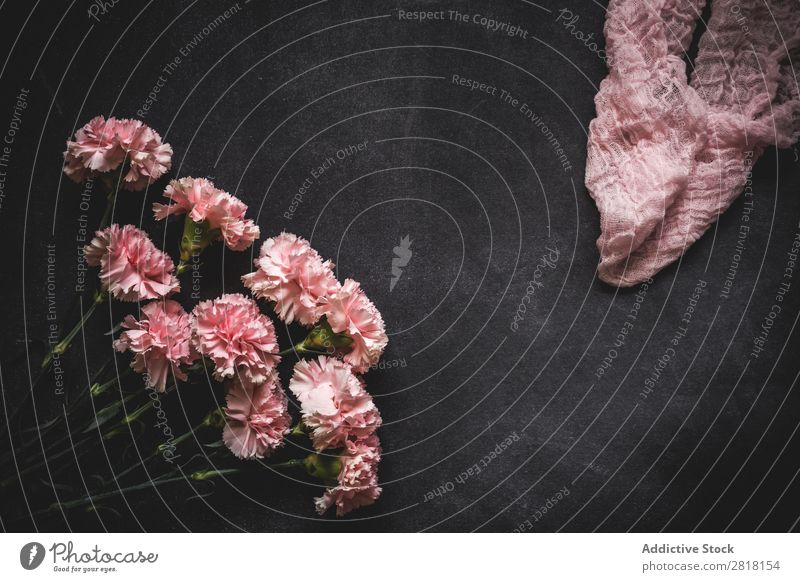 Flowers on black background. Flat lay, top view Background picture Love Carnations Consistency Blossom leave Gift valentine Natural Floral Bouquet Birthday Leaf