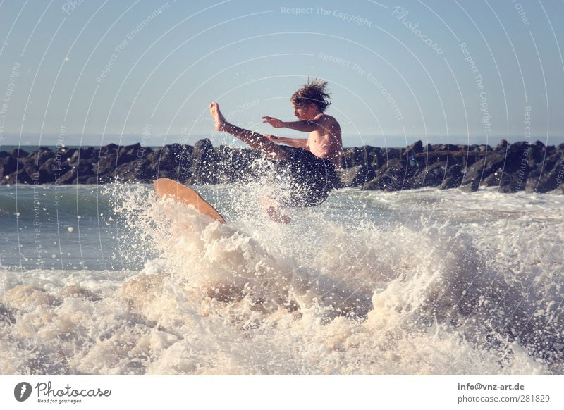 Human being Youth (Young adults) Vacation & Travel Summer Sun Ocean Joy Beach Sports Young man Waves Power Leisure and hobbies Masculine Action Wet