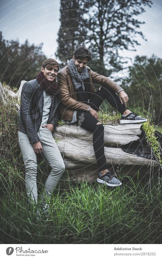 Portrait of two young man posing with fashionable winter clothes Model Friendship Man 2 Fashion Clothing Winter Pants Scarf Coat Sweater Shirt Footwear