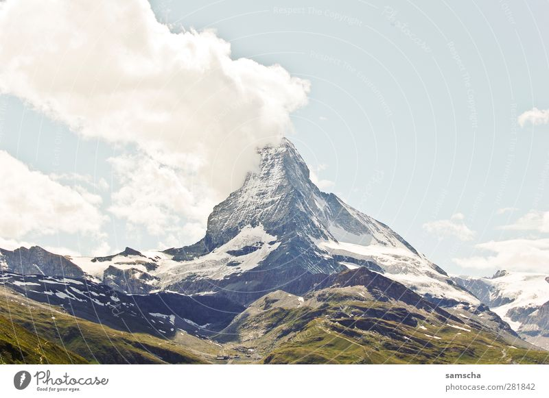matte horn Nature Landscape Elements Clouds Rock Alps Mountain Peak Snowcapped peak Stone Gigantic Tall Adventure Matterhorn Canton Wallis Zermatt