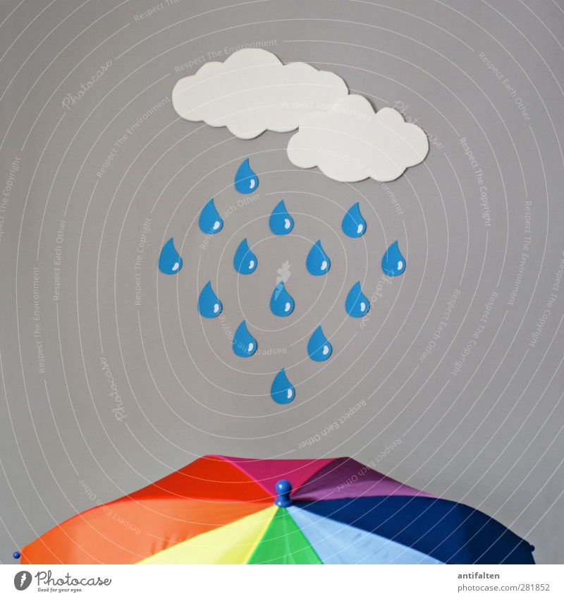 rain Clouds Rain Umbrella Umbrellas & Shades Plastic Drop To fall Blue Multicoloured Yellow Green Violet Orange Pink Red White Happiness Authentic False Really