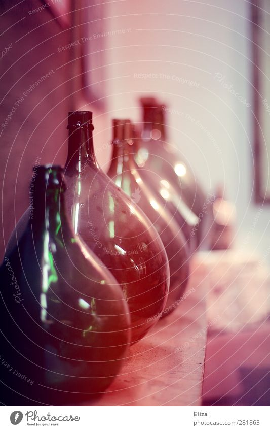 bottled Bottle Old Round Glass Retro Beaded Laboratory Fill Containers and vessels Wine distil Multicoloured Interior shot Deserted Shallow depth of field