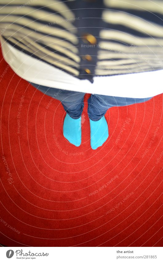 from top to bottom Pants Jeans Jacket Cloth Stockings Buttons Stand Blue Gold Red Turquoise White Top Carpet Under Striped sweater Colour photo Interior shot