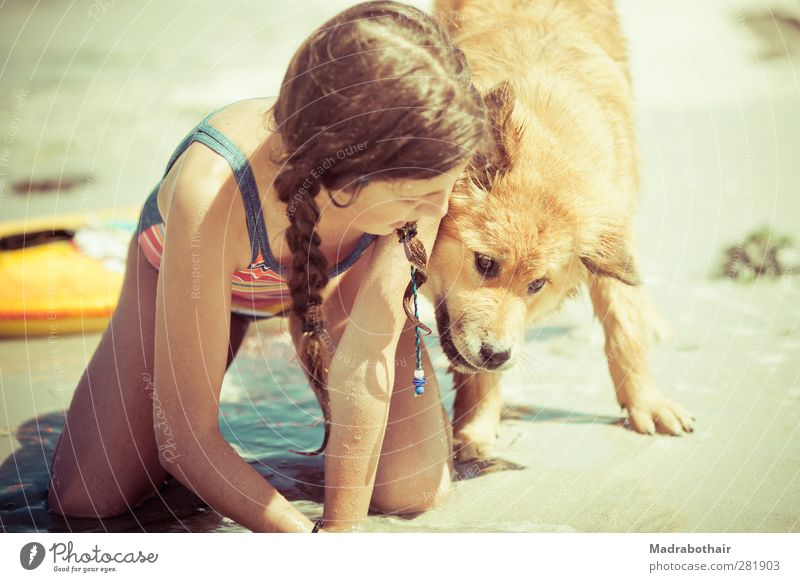 Dog Human being Child Water Vacation & Travel Summer Ocean Girl Joy Beach Animal Feminine Playing Baby animal Sand Together