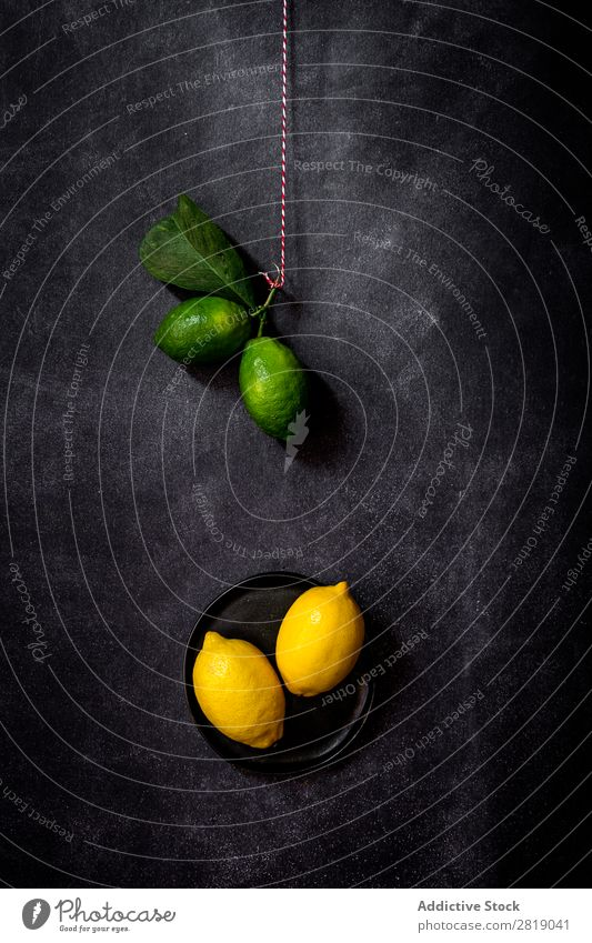Fresh lemons on dark table Lemon Fruit Food Background picture Diet Green Healthy Natural Organic Raw Agriculture Mature Table Bird's-eye view Vegetable