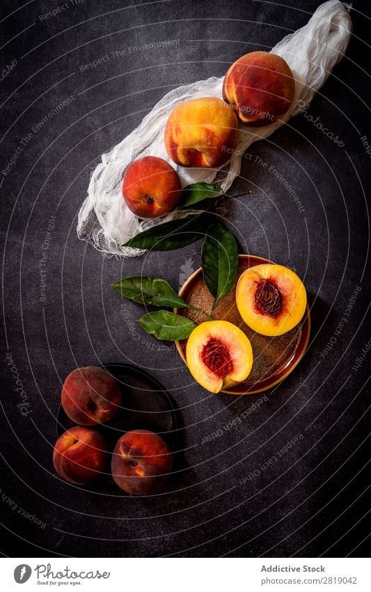 Fresh peaches on dark table Peach Fruit Food Background picture Diet Green Healthy Natural Organic Raw Agriculture Mature Table Bird's-eye view Vegetable
