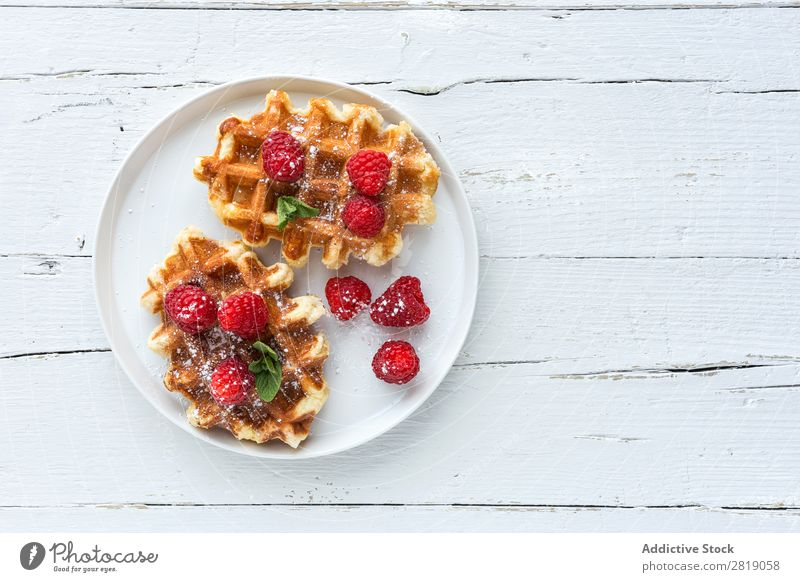 Waffle with cream raspberries and chocolate strawberries Food Sweet Dessert Cream Strawberry Raspberry Chocolate Belgian Fruit Creativity yummy Sense of taste