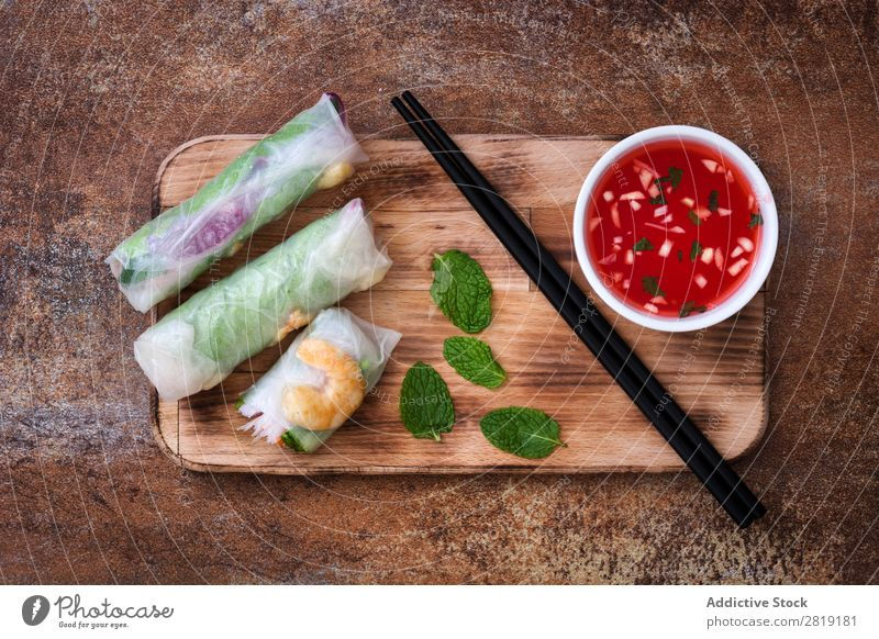 Vietnamese rolls Close-up Bird's-eye view Roll Fresh Food Spring Rice Salmon White Healthy Vegetable Sauce Shrimp Paper Cooking Salad Diet asian Snack Gourmet