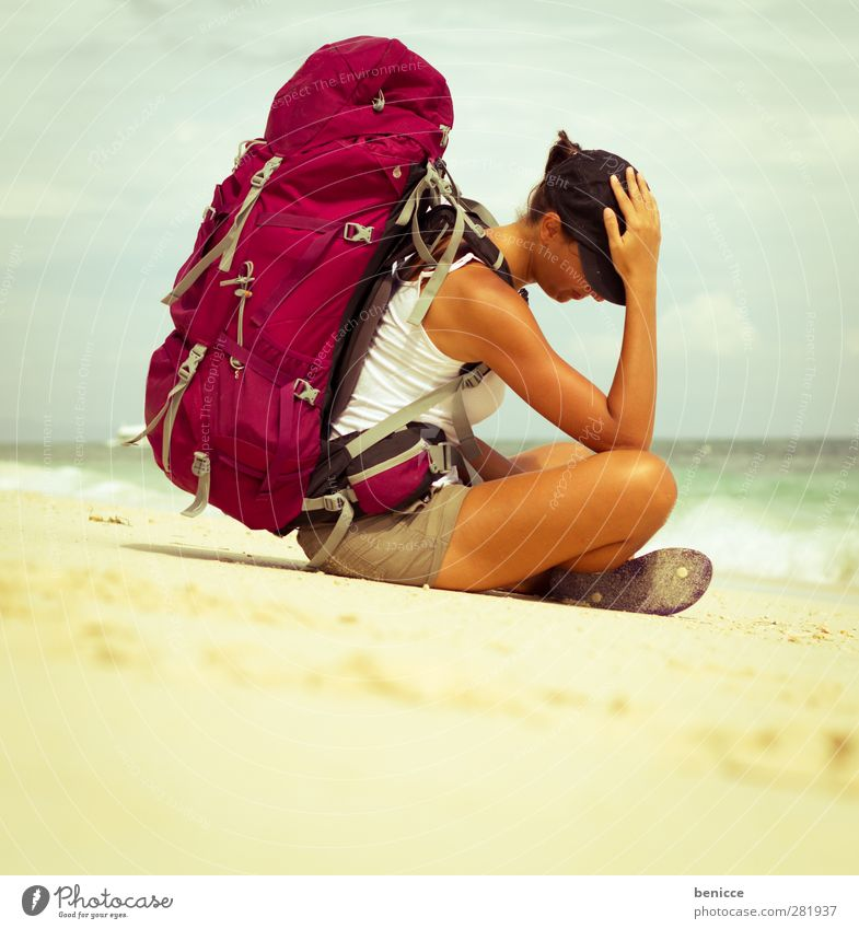 backpacker Backpacking Vacation & Travel Travel photography Beach Sandy beach Woman Human being Sit Ocean Waves Sadness Fatigue Tourist Heavy Luggage Exhaustion