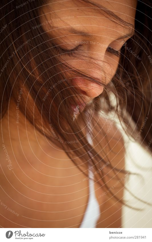 wind in hair Woman Human being Portrait photograph To enjoy Delightful Wind Hair and hairstyles Eyes Closed Sadness Grief Emotions Dark-haired Close-up Summer
