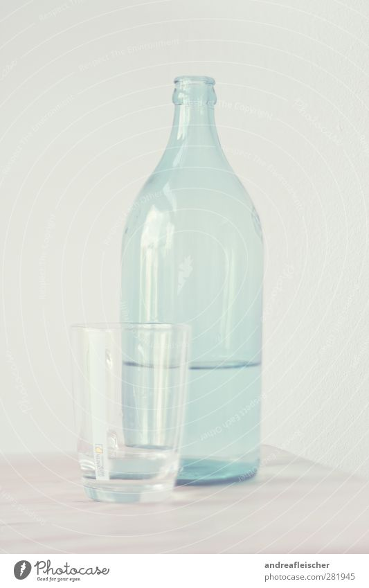 water bottle. Food Drinking water Cup Glass Esthetic Smooth Full Blue Reflection Wall (building) Wood Tabletop Structures and shapes Art Beige Bottle