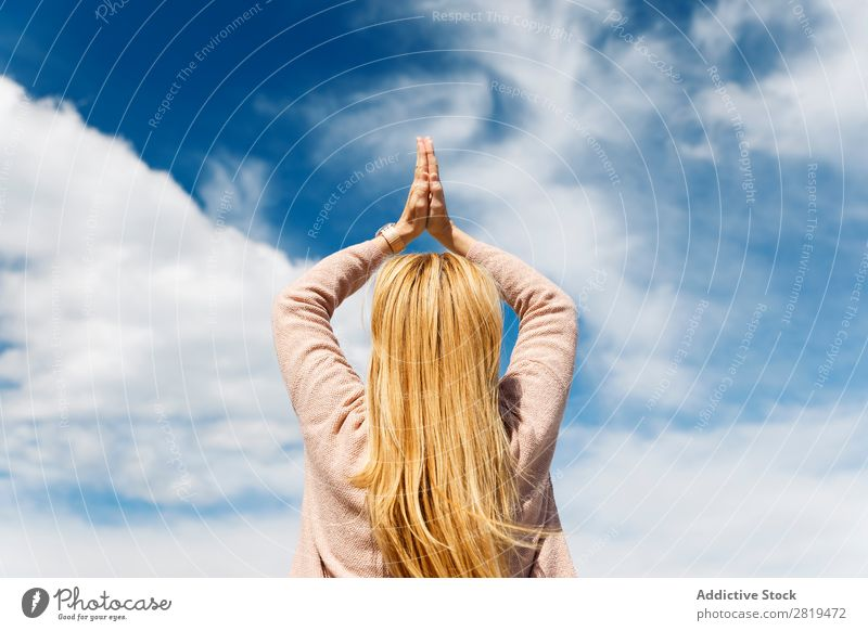looking at the sky Woman Yoga Sky Clouds Blonde Relaxation practicing yoga mindfulness Nature Vantage point Landscape donostia gros San Sebastián Spain Europe