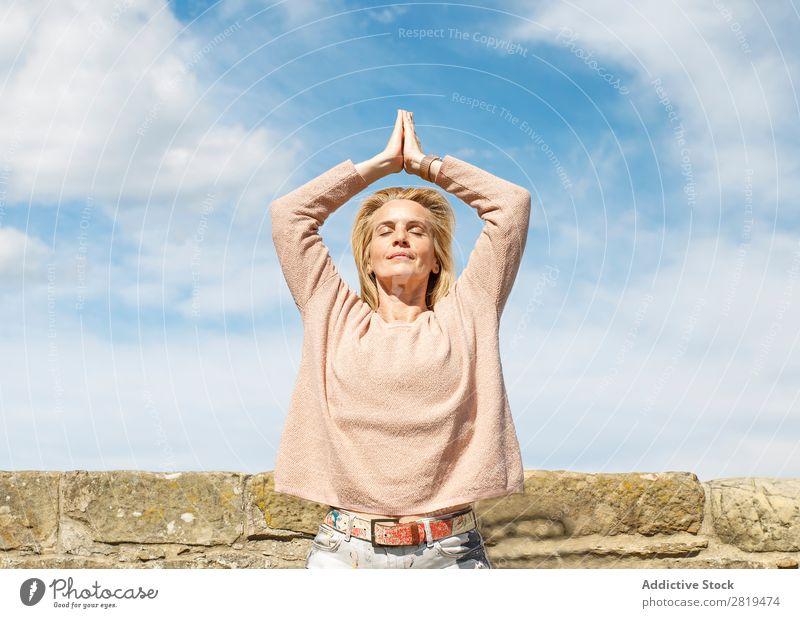 practicing yoga Woman Yoga Sky Clouds Blonde Relaxation mindfulness Nature Vantage point Landscape donostia gros San Sebastián Spain Europe Meditation Adults