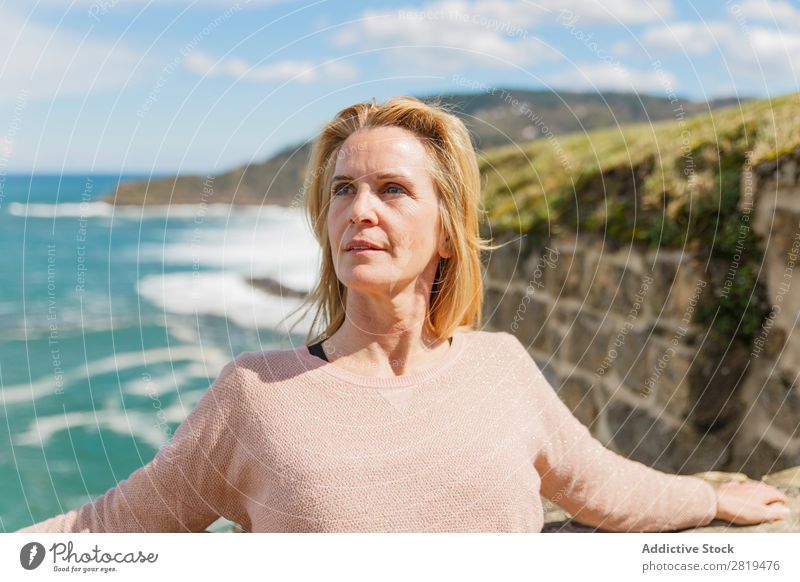 woman enjoying nature on the mount Woman Yoga Sky Clouds Blonde Relaxation practicing yoga mindfulness Nature Vantage point Landscape donostia gros