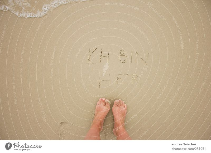 I'm here. Vacation & Travel Summer Ocean Feet To enjoy Emotions Looking Write Tracks Sand Beach Water Waves Bubble Brown Dappled Imprint Splay