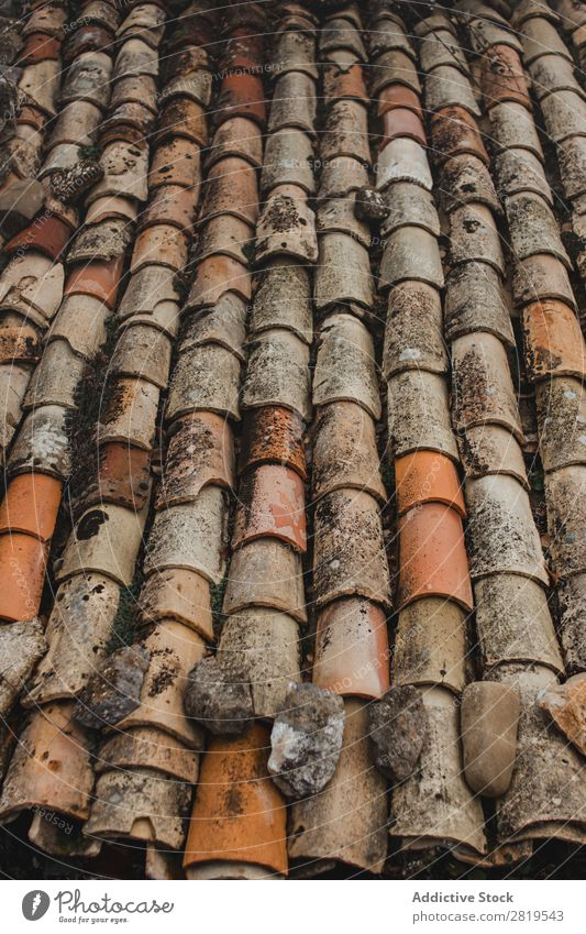 Close-up roof tile texture Tile Roof Old grungy ceramic Material Consistency texture background Pattern Weathered Rough Abstract Construction