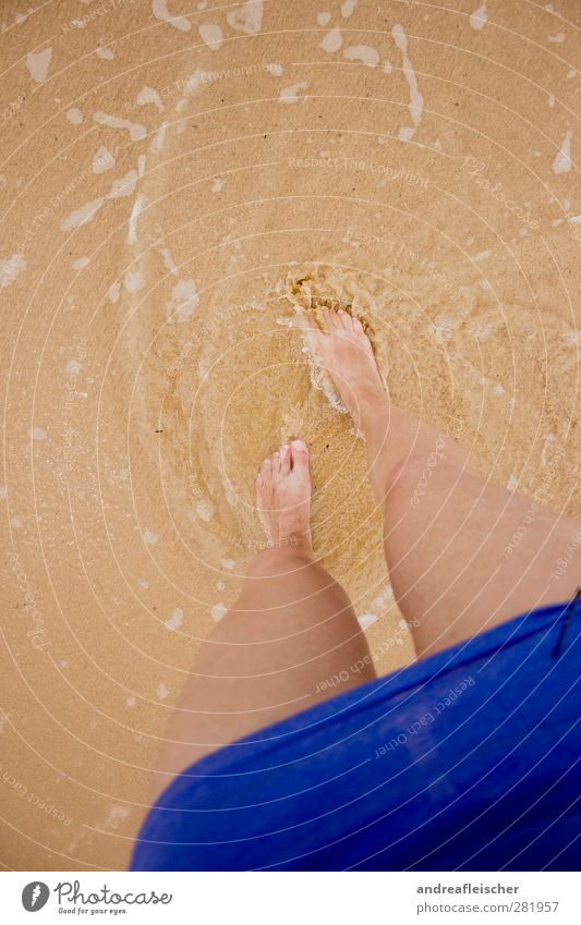 foot stories. Feminine 1 Human being Movement Waterfall Ocean Cambodia Island Sand Beach T-shirt Dress Hair barrette Feet Emotions Going Waves Brown Asia