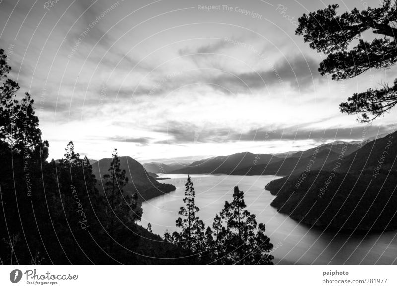 lake 02 Clouds Lake Landscape Mountain Patagonia Rock san martin de los andes Sky Tree Water Dusk Sunrise Black & white photo Forest Exterior shot Park Nature