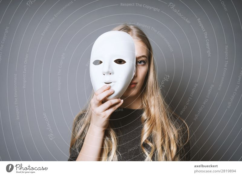 young woman behind mask Human being Feminine Young woman Youth (Young adults) Woman Adults 1 13 - 18 years 18 - 30 years Art Artist Stage play Actor Culture