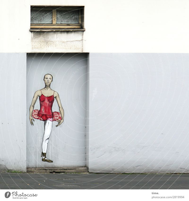 Human being Man Town House (Residential Structure) Loneliness Window Adults Graffiti Wall (building) Sadness Emotions Movement Art Wall (barrier) Facade