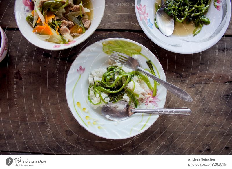 Cambodian food. Food Meat Vegetable Herbs and spices Nutrition Lunch Asian Food Crockery Plate Cutlery Knives Fork Spoon To enjoy Healthy Eating Water spinach