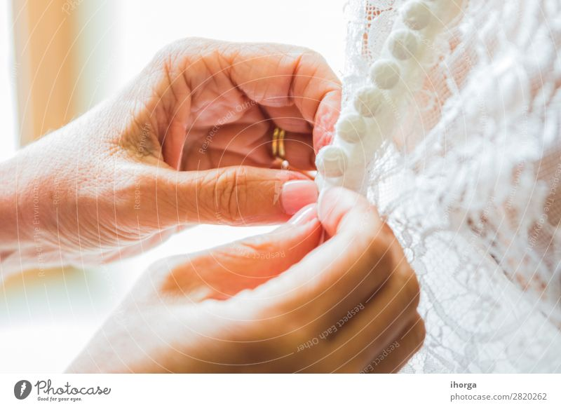 Preparing bride in morning for the wedding day Woman Beautiful White Hand Joy Adults Love Feasts & Celebrations Style Fashion Elegant Arrangement Fingers