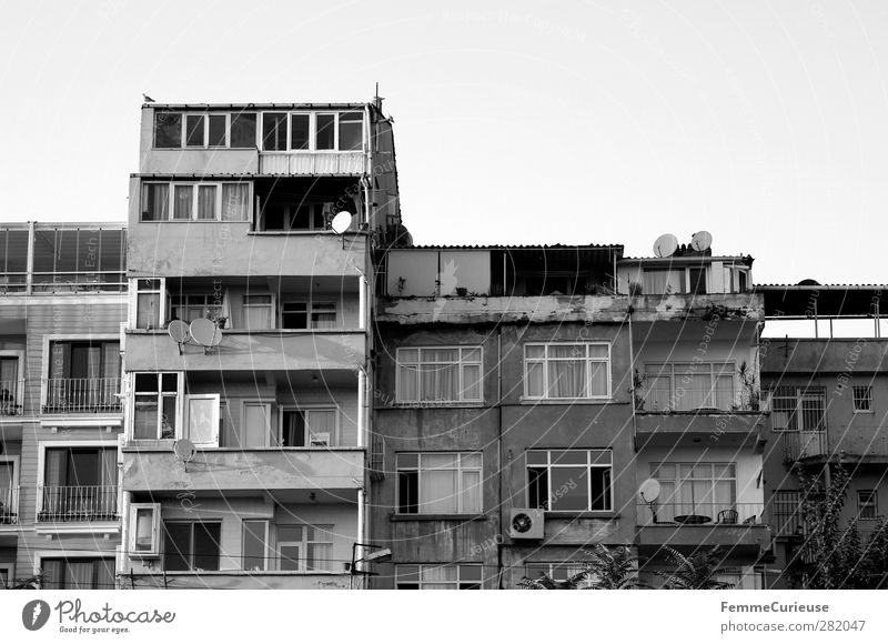 House facades. Town Capital city Port City Deserted House (Residential Structure) High-rise Facade Window Old Housefront Istanbul Turkey Satellite dish Shabby