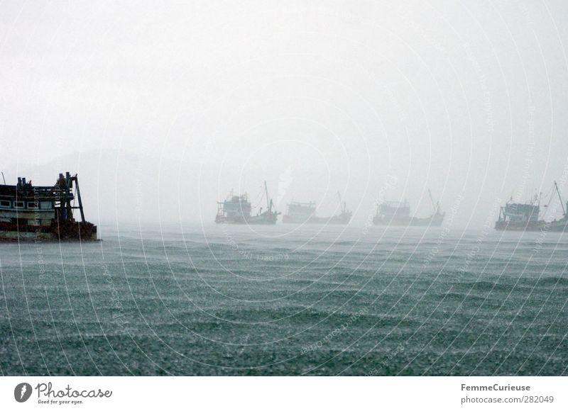 Nature Ocean Mountain Horizon Watercraft Rain Wind Fog Tall Dangerous Adventure Drops of water Rainwater Asia Storm Bay