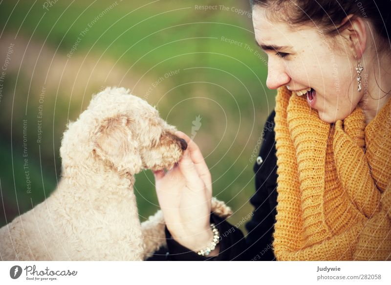 Dog Human being Nature Youth (Young adults) Green Young woman Joy Animal Yellow Environment Feminine Autumn Happy Fashion Friendship Leisure and hobbies