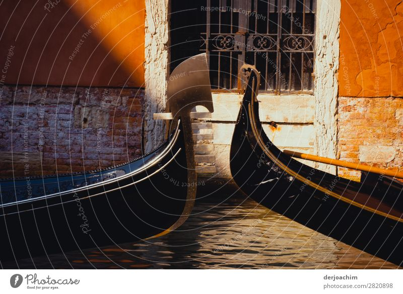 Meeting of two gondolas that meet in the canals...of Venice. One sees only the front of the boats. In the background there is an old door with bars. Design Trip