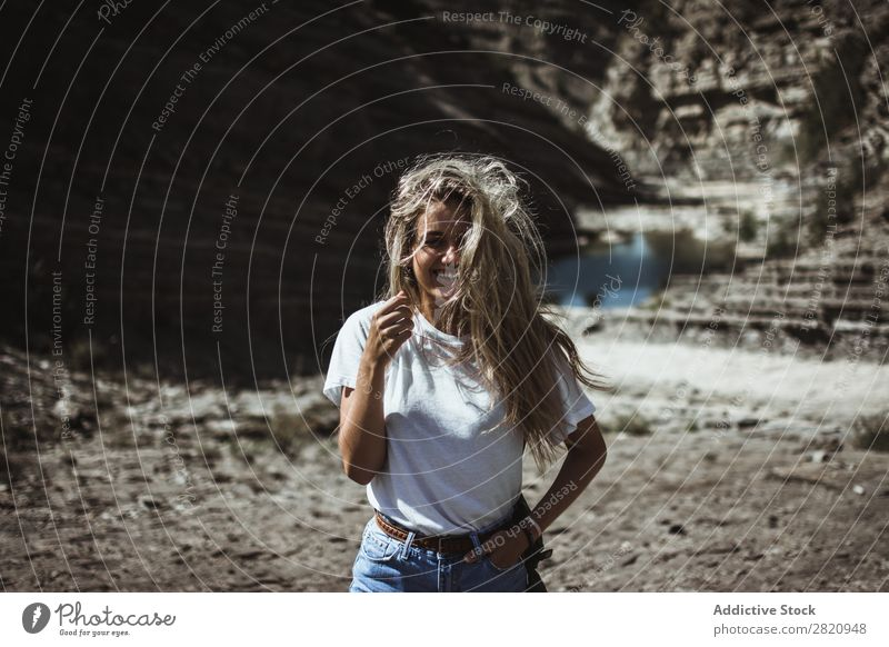 Woman standing at lake Lake pretty Stand Coast hands in pockets Nature Girl Youth (Young adults) Beautiful Attractive Water Beauty Photography Human being
