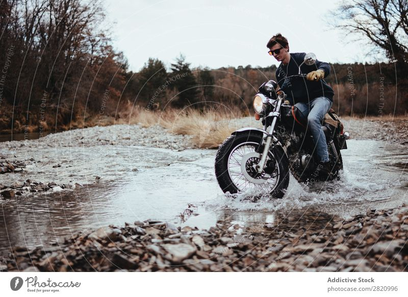 Motorcyclist riding in rocks Man Landscape Stream Brook Vacation & Travel Macho Transport Freedom Adventure Rider Tourist Style Nature Driving Motorcycling