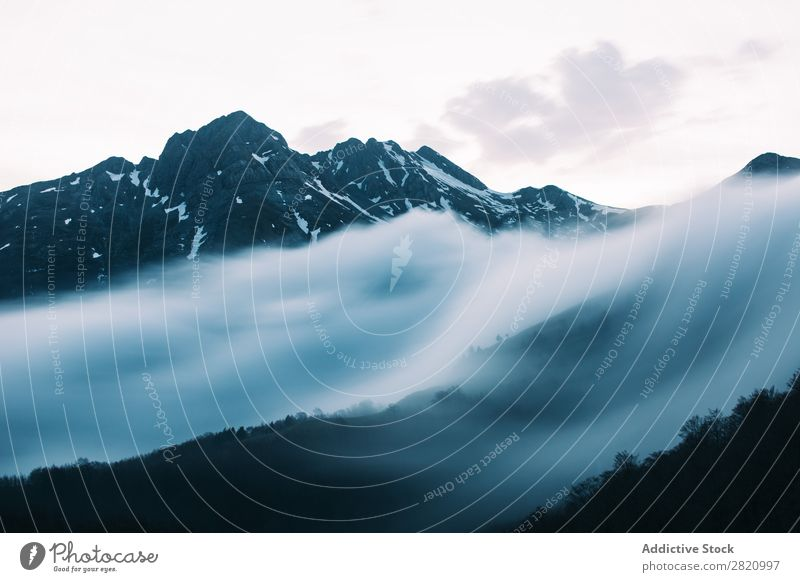 Mist on slope of mountains Mountain Slope Fog Landscape Traveling Nature Mysterious Adventure