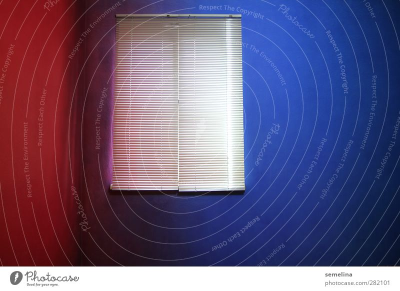 RedBlue Flat (apartment) Interior design Room Window Corner Venetian blinds Roller blind Dark Sharp-edged Cold Gloomy Town Crazy Silver Colour Far-off places