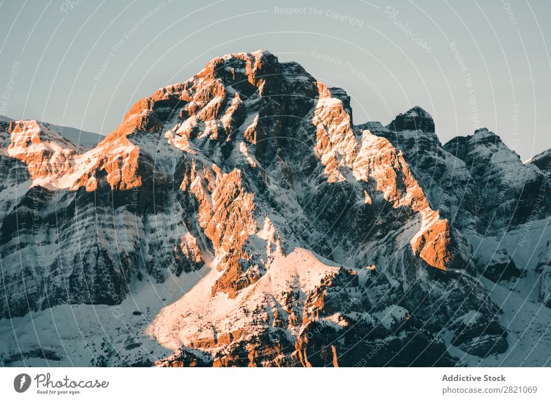 Picturesque view of snowy mountains Mountain Range Snow Panorama (Format) Landscape Cloud cover Vantage point scenery Tourism Winter Natural Seasons Nature