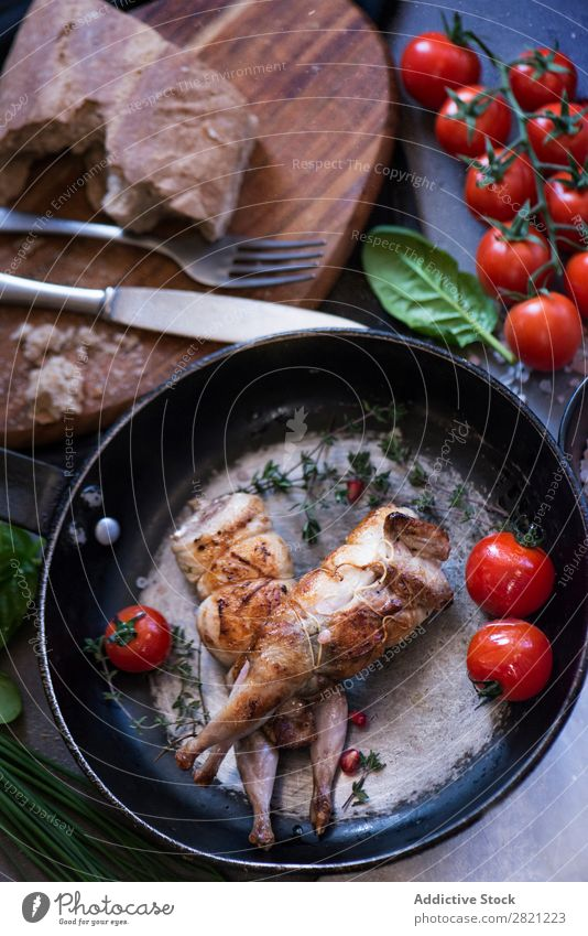 Poultry served on frying pan Tasty Dish Pan Frying Tomato Dinner Roasted Meal Meat Cooking Gourmet Food Fresh Lunch Delicious Vegetable To feed Tradition Rustic