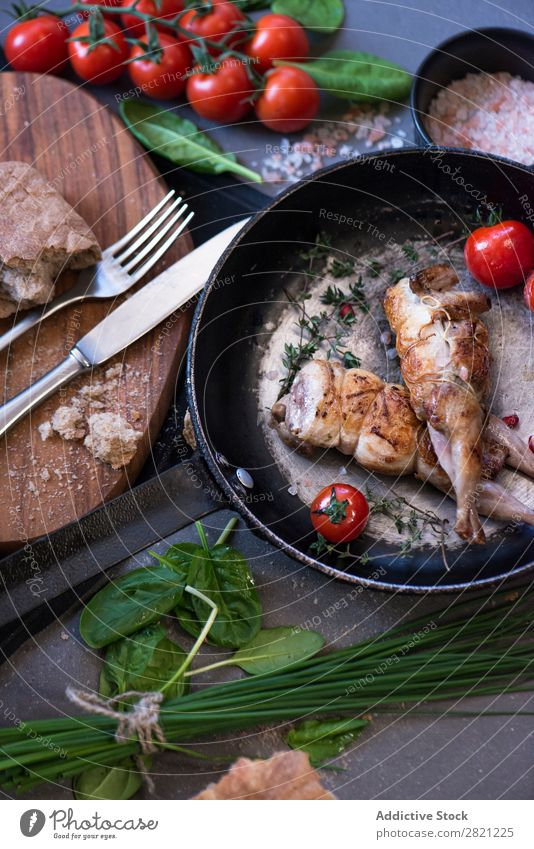 Fried poultry on pan Poultry Tasty Dish Pan Frying Tomato served Dinner Roasted Meal Meat Cooking Gourmet Food Fresh Lunch Delicious Vegetable To feed Tradition