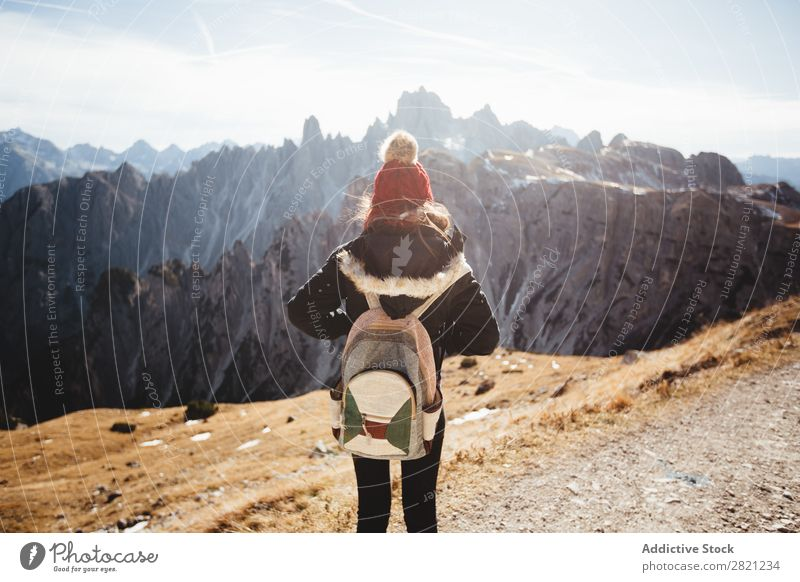 Woman enjoying view of mountains Mountain Vantage point Vacation & Travel Freedom Youth (Young adults) Peak Backpack Hiking Nature Landscape Adventure Sky