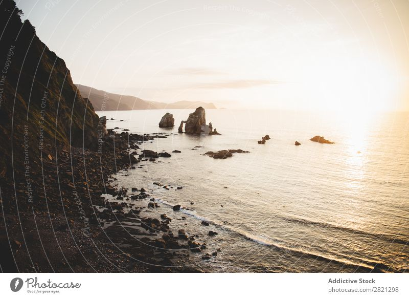 Beautiful view of rocky coastline Landscape Coast Rock Environment Panorama (Format) Ocean Vacation & Travel seascape Tourism seaside Idyll scenery Cliff