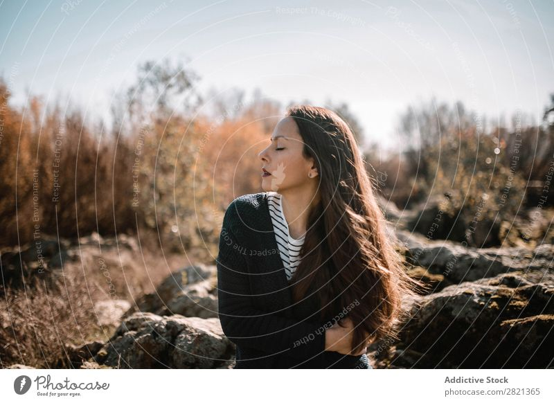 Sensual woman sitting in nature looking away Woman pretty Youth (Young adults) Sit Beautiful To enjoy Attractive eyes closed Nature Autumn Sunbeam Brunette