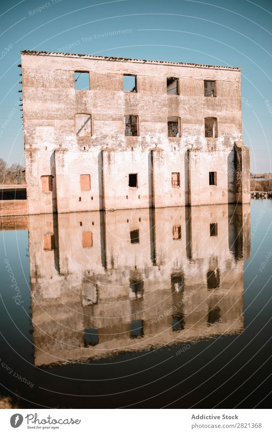 Wall of ruined building at lake Building Ruin Lake Architecture Landscape Sky Nature Old Water Tourism Landmark Vacation & Travel Historic Ancient Castle